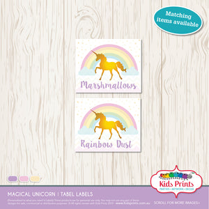 Magical Unicorn Party | Table Labels - Kids Prints Online
