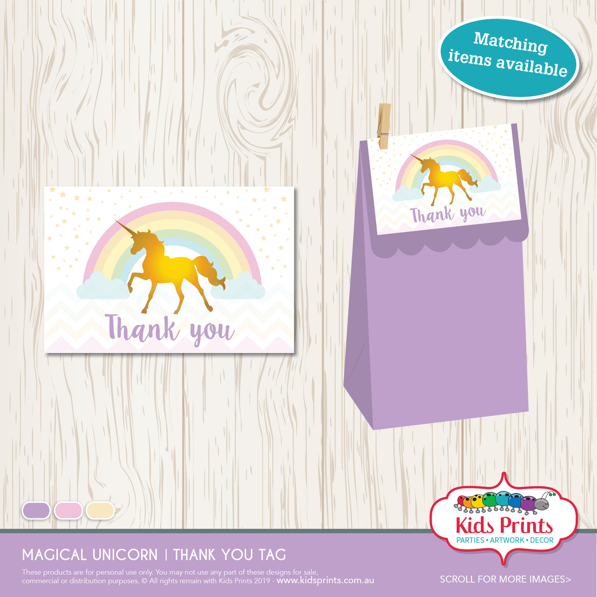 Magical Unicorn Party | Thank you Tag - Kids Prints Online