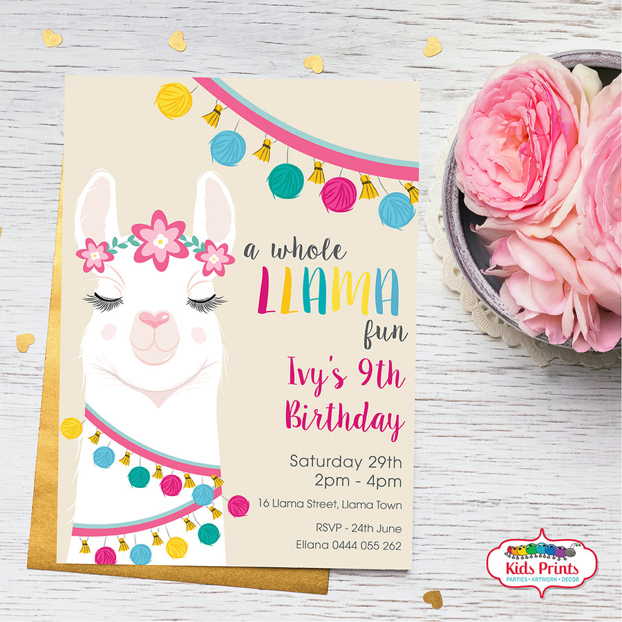 Llama - Invitation - Kids Prints Online - kids wall art printable - nursery art printable - printable invitations - digital invitations - kids wall art - kids prints