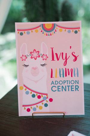 Llama Party | A4 Adoption Center Sign - Kids Prints Online