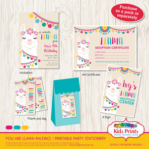 Llama Theme - Printable Party Stationery - Kids Prints Online - kids wall art printable - nursery art printable - printable invitations - digital invitations - kids wall art - kids prints