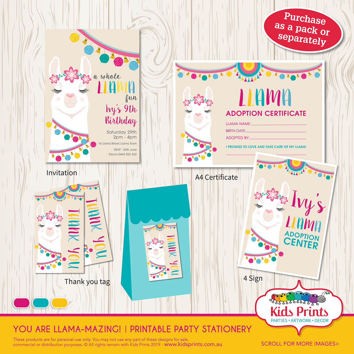 Llama Party | Printable Stationery - Kids Prints Online