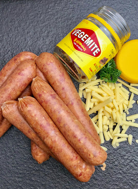 VEGEMITE & CHEESE SAUSAGES