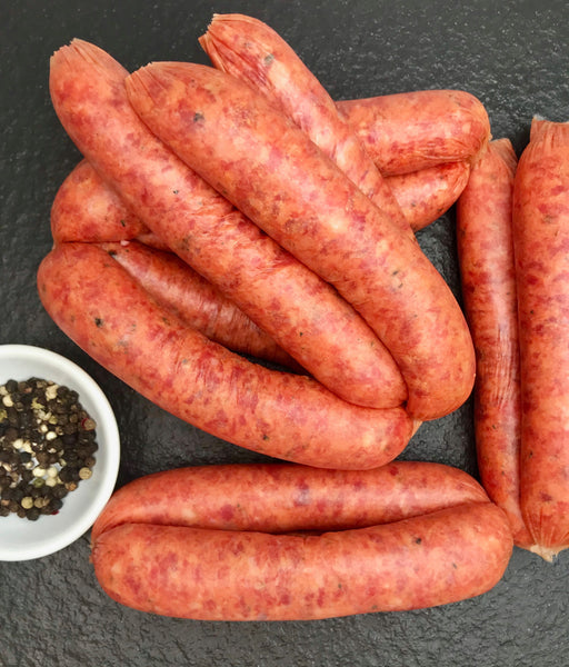 BUSH TOMATO, PEPPER BERRY & LEMON LEAF BEEF SAUSAGES