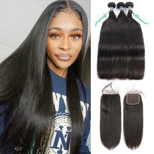 Asteria Hair Straight Hair 3 Human Hair Bundles With 4X4 Lace Closure 8A Grade