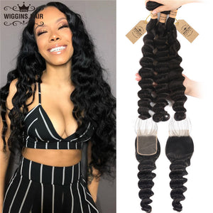 Wiggins Hair Loose Deep Human Hair Bundles With 4x4 Lace Closure With Baby Hair 8A Grade