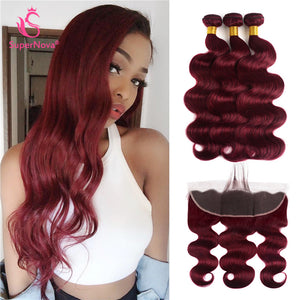 Supernova Hair 99J Burgundy Body Wave Hair 3 Bundles With 13x4 Lace Frontal 8A Grade