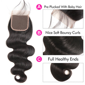 Yolissa Hair Body Wave Human Hair Bundles 3 Bundles With 4x4 Lace Closure 8A Grade
