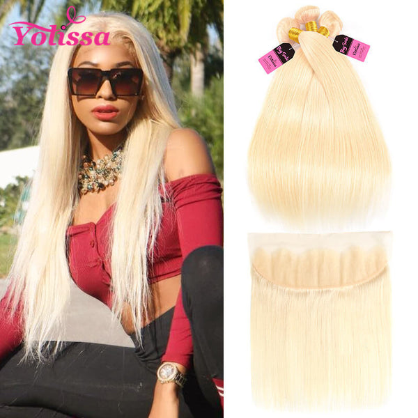 Yolissa Hair 613 Blonde Hair Straight Hair 3 Weaves With 13*4 Lace Frontal 8A Grade