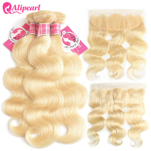 Alipearl Hair 3 Bundles Body Wave 613 Blonde Hair Bundles With 13x4 Lace Frontal 8A Grade