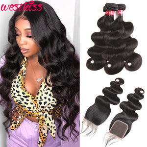West Kiss Hair Virgin Body Wave Hair Weave 3 Bundles Hair Deals With 4x4 Lace Closure