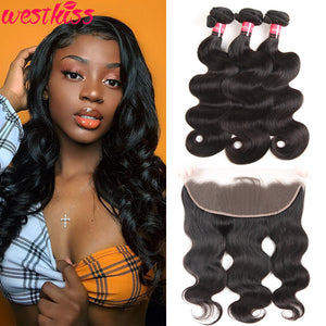 West Kiss Hair Body Wave 13x4 Lace Frontal With 3 Hair Bundles Virgin Brazilian Hair