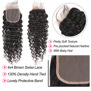 West Kiss Deep Wave 4×4 Lace Closure With 3 Bundles Best Human Hair Weaves With Closure