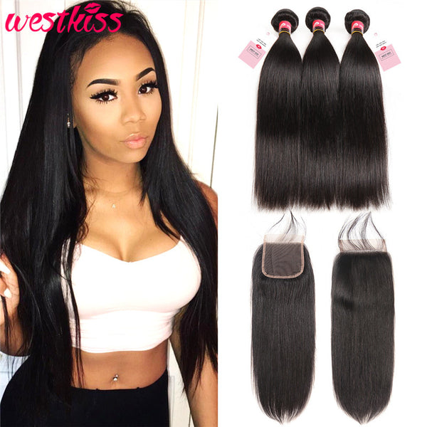 West Kiss Brazilian Straight Hair 3 Bundles With Lace Closures Super Soft Human Hair
