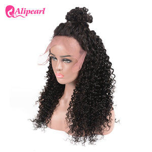 Alipearl Deep Wave 13x4 Lace Front Human Hair Wigs With Baby Hair Natural Black 8A Grade