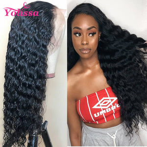 Yolissa Hair Water Wave Lace Front Wigs Glueless 150%-200% Density With Baby Hair