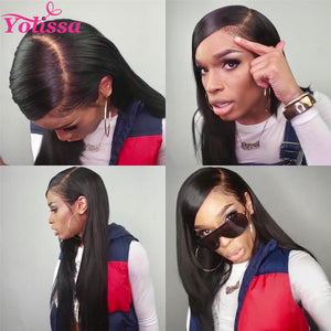 Yolissa Hair Straight Hair Lace Front Wigs Pre-Plucked With Baby Hair And Adjustable Straps