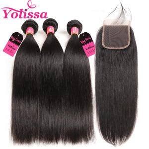 Yolissa Hair Straight Human Hair Bundles 3 Bundles With 4x4 Lace Closure 8A Grade