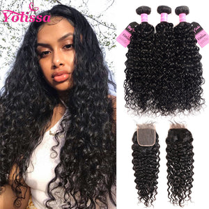 Yolissa Hair Water Wave Human Hair Bundles 3 Bundles With 4x4 Lace Closure 8A Grade