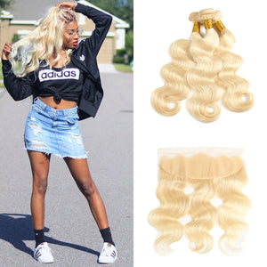 Yolissa Hair 613 Blonde Body Wave Hair 3 Bundles With 13*4 Lace Frontal Closure 8A Grade