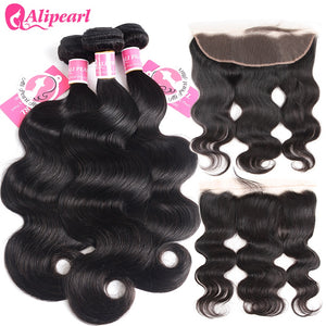 8A Alipearl Hair 3 Bundles Body Wave Hair Weaves With 13x4 Lace Frontal