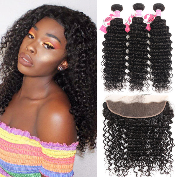 8A Grade Alipearl Deep Wave Hair 3 Bundles With 13x4 Lace Frontal Best Human hair