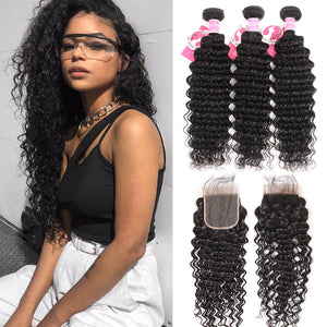 Alipearl Hair Deep Wave Hair 3 Bundles With 4*4 Lace Closure Brazilian Hair 8A Grade