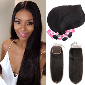 AliPearl Brazilian Straight Hair 3 Weaves With 4x4 Lace Closure Unprocessed Human Hair