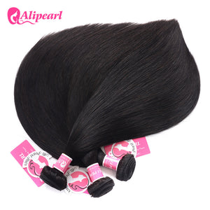 8A Alipearl Straight Hair 3 Bundles Human Hair Bundles With 13*4 Lace Frontal