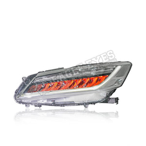 Honda Accord G9 LED Headlamp Sequential Signal+ One Touch Blue +Red Welcome Light 13-16