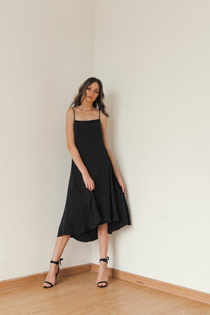 MAYA SQUARE NECK MIDI SLIP DRESS