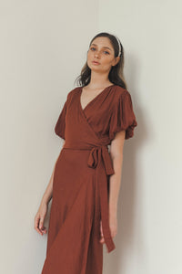 CASSIE PUFF SLEEVES WRAP DRESS