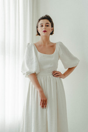KATNISS PUFF SLEEVES TEA LENGTH DRESS