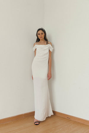 JEANNE OFF SHOULDER SLIP DRESS