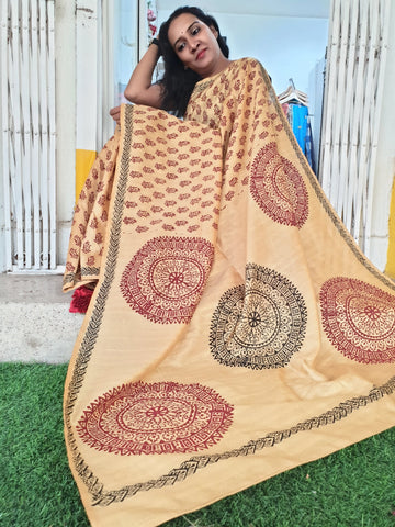 Gold Hand Block Print Saree