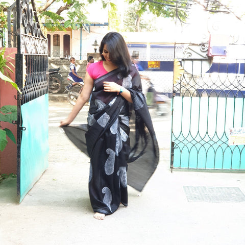 Black Hand Block Print Saree