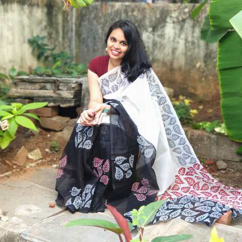 Black & White Hand Block Print Saree