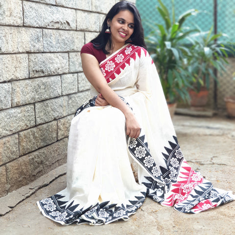 Off White Hand Block Print Saree