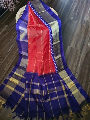 Red & Royal Blue Dupatta