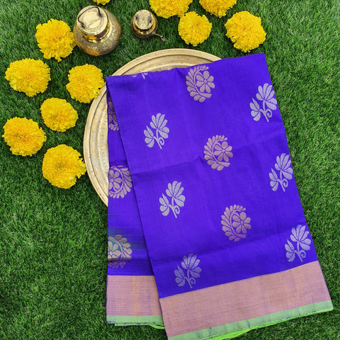 Blue and Green Uppada Silk Saree