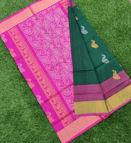 Green and Pink  Uppada Silk Saree