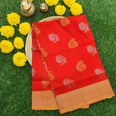Red and Yellow Uppada Silk Saree