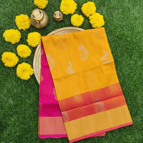 Yellow and Pink Uppada Silk Saree