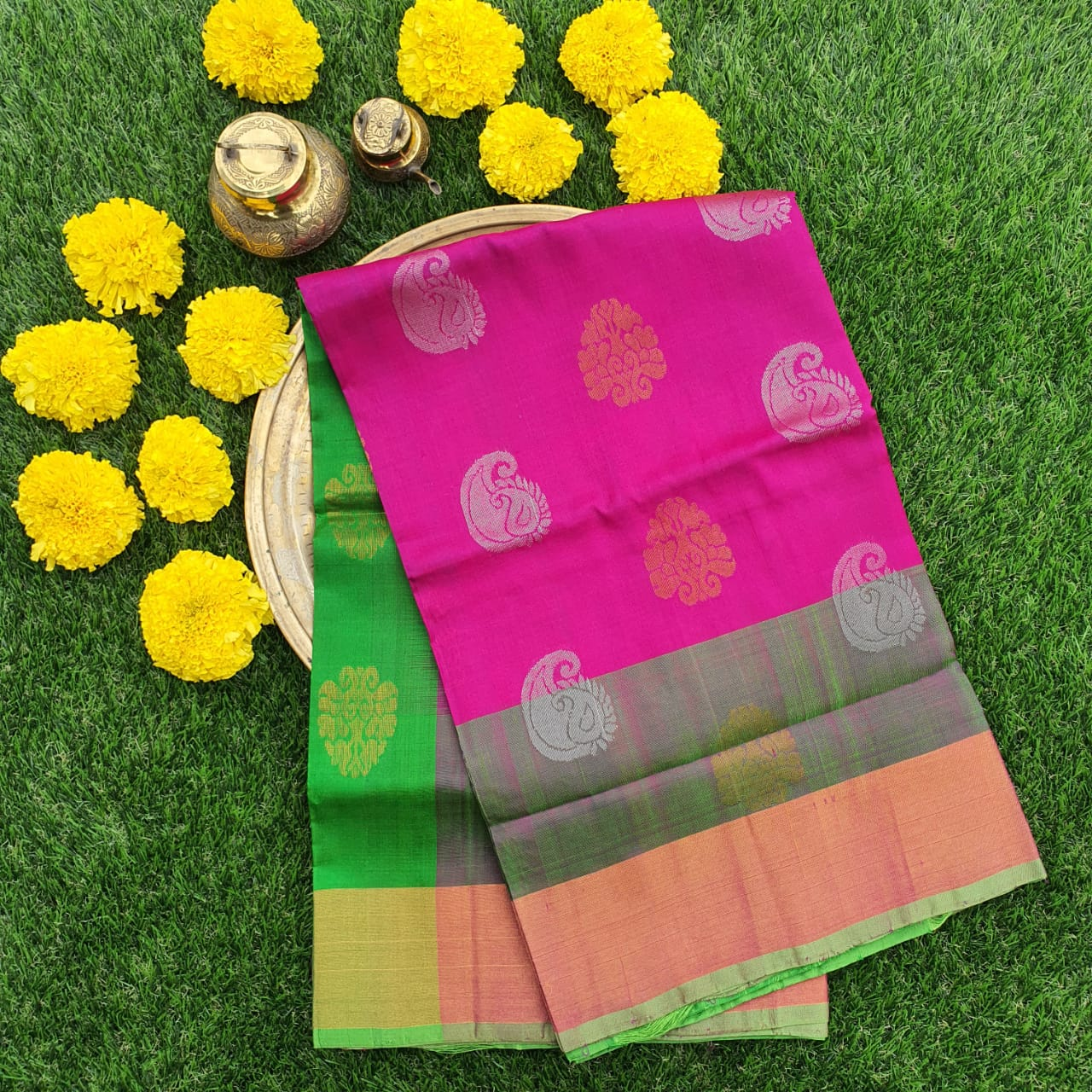 Pink and Green Uppada Silk Saree