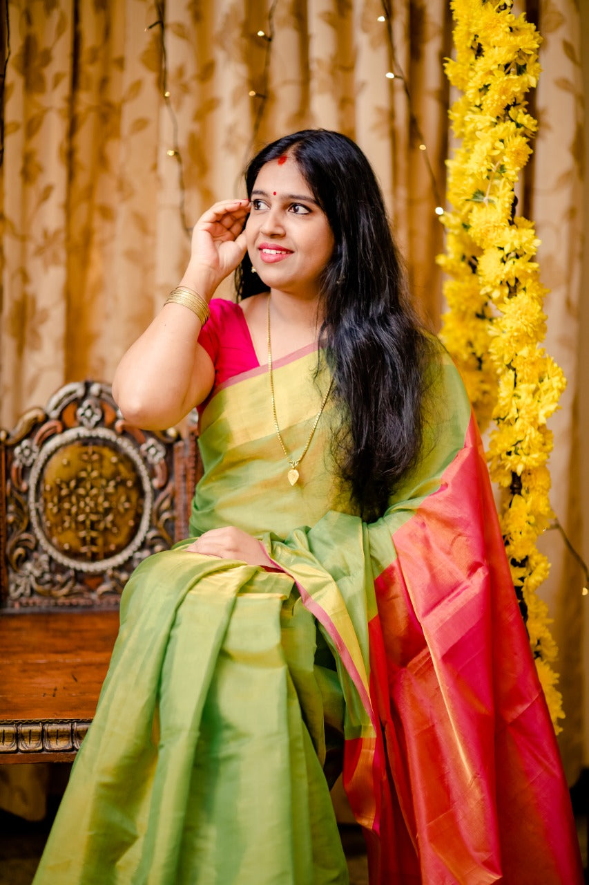 Handwoven Uppada Tissue Silk Saree