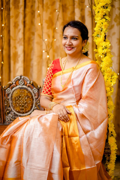 Handwoven Uppada Cotton Tissue Silk Saree