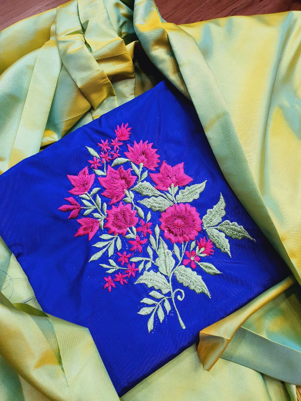 Paper silk saree with embroidered blouse piece