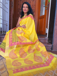 Hand Block Printed Silk Cotton Saree