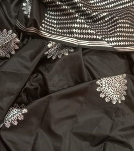 Black and Silver Hand Block Print Saree