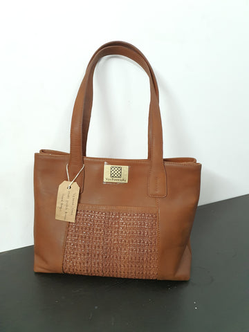 Matte Patch Brown Hand Bag